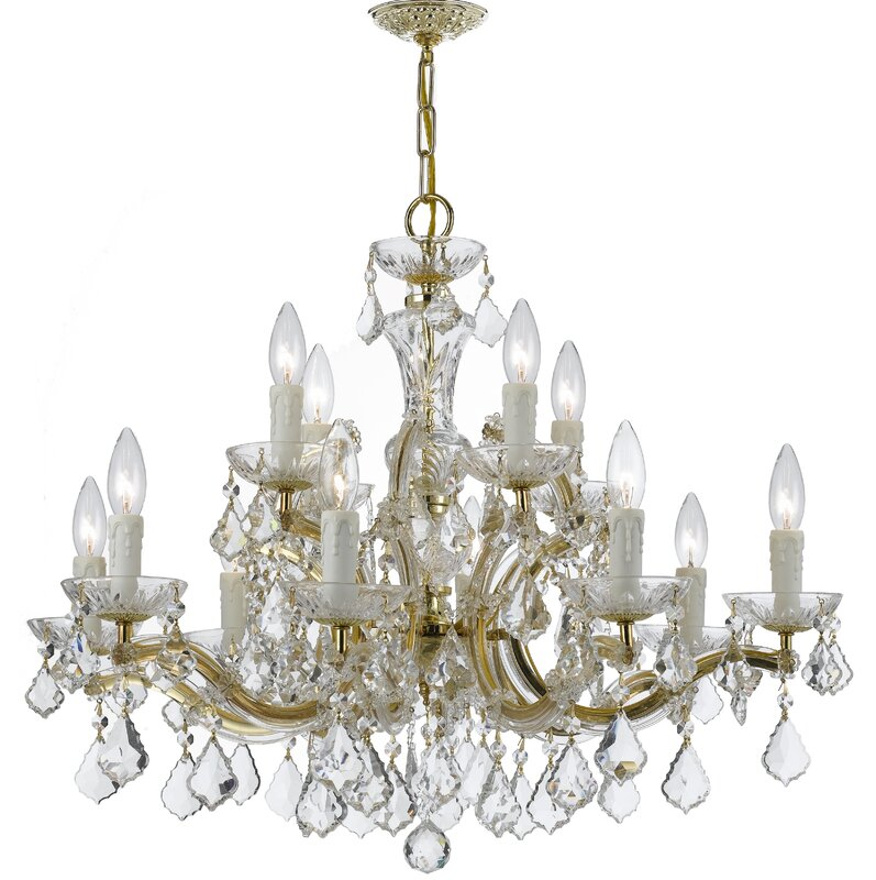 House of hampton griffiths 12 light crystal chandelier reviews griffiths 12 light crystal chandelier aloadofball Images