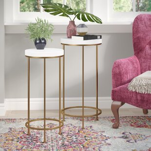 Shona Metal And Wood 2 Piece Nesting Tables Set By Mercer41