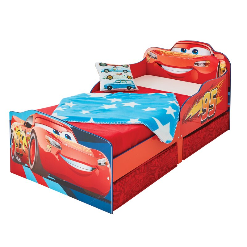 Cars Disney Lightning Mcqueen Toddler Bed With Storage Drawers