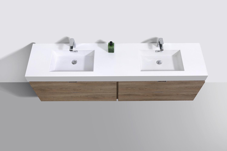 Wade Logan Malakai 72 Wall Mounted Double Bathroom Vanity Set Wayfair