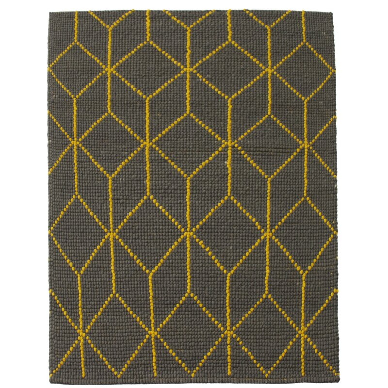 Corrigan Studio Boon Geometric Hand Braided Wool Dark Brown Area Rug Wayfair