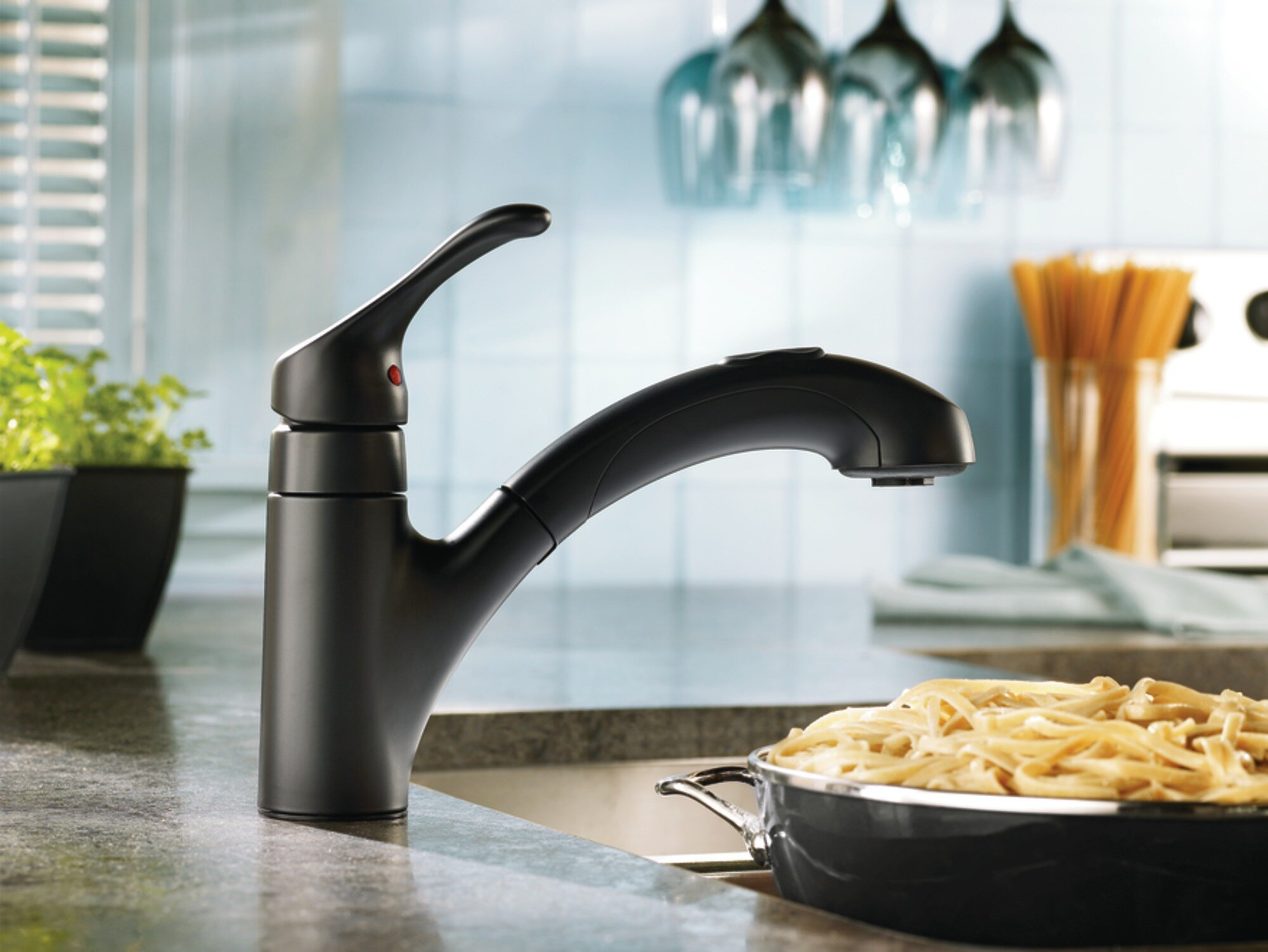 CA87316BL,W Moen Renzo Single Handle Kitchen Faucet with ...