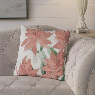 Amanda Christmas Cactus Floral Print Outdoor Throw Pillow