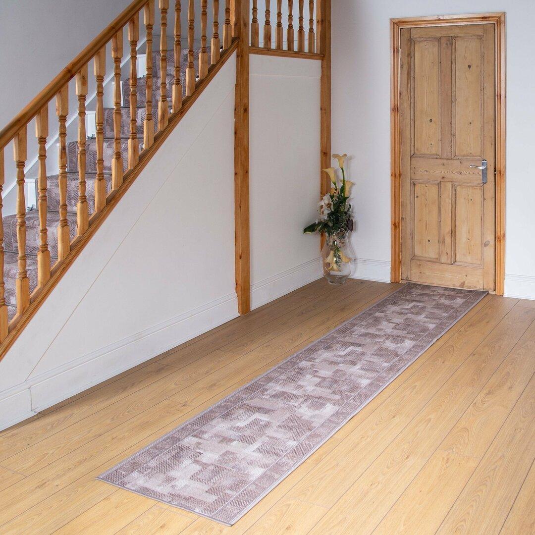 Banner Looped/Hooked Beige Hallway Runner Rug