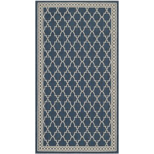 Short Blue/Beige Indoor/Outdoor Sisal Area Rug