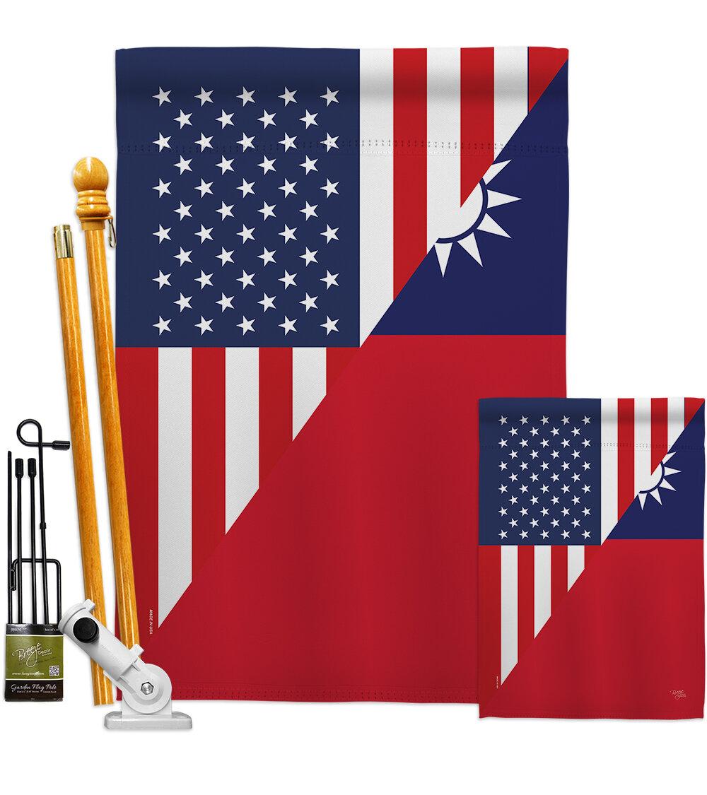 Breeze Decor American Taiwan Friendship Impressions Decorative 2 Sided 40 X 40 In Polyester Flag Set Wayfair