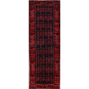 One-of-a-Kind Jardine Classical Nahavand Hamedan Traditional Persian Hand-Knotted Runner 3'5 x 9'9 Wool Blue/Burgundy Area Rug Isabelline