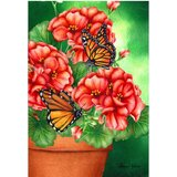 Gertraut Geranium Butterfly Polyester 18 x 12 in. Garden Flag