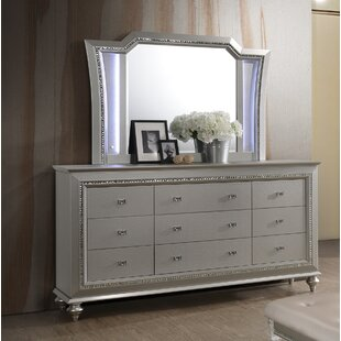 Echols 9 Drawer Dresser with Mirror