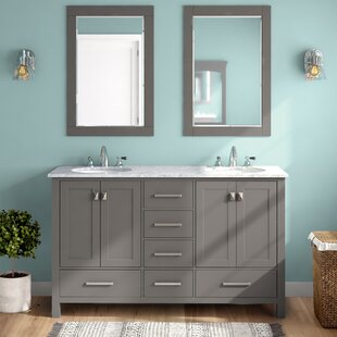 Newtown 60 Double Bathroom Vanity Set with Mirror by Beachcrest Home