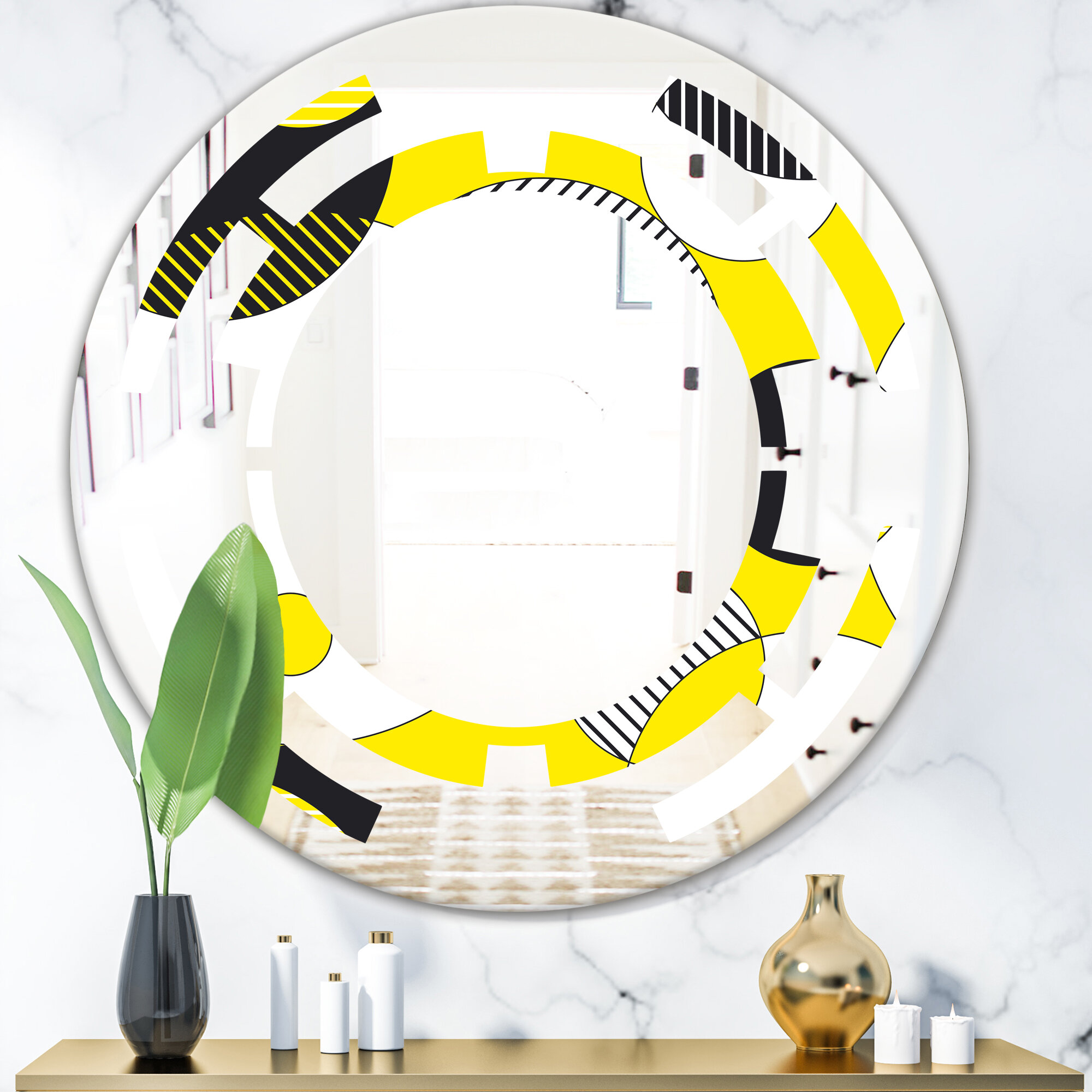 East Urban Home Abstract Geometric I Space Modern Contemporary Frameless Wall Mirror Wayfair