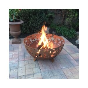 Laser Cut Wild Leaves Steel Wood Fire Pit