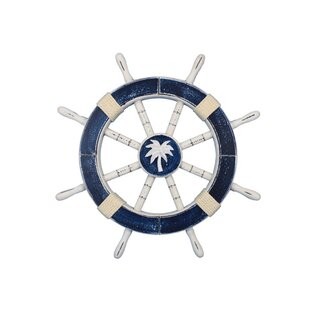 Ship 18 Decorative Ship Wheel with Palm Tree Wall D?cor by Handcrafted Nautical Decor