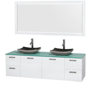 Inexpensive Amare 72 Double White Bathroom Vanity Set with Mirror By Wyndham Collection