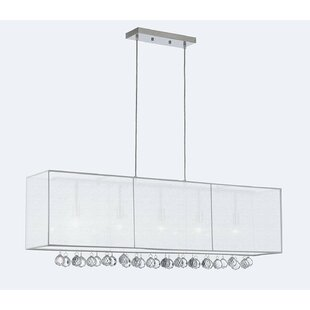 Everly Quinn Emblyn Crystal 5-Light Kitchen Island Pendant