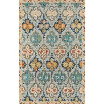 Bungalow Rose Kouerga Hand Tufted Wool Blue Area Rug Reviews Wayfair