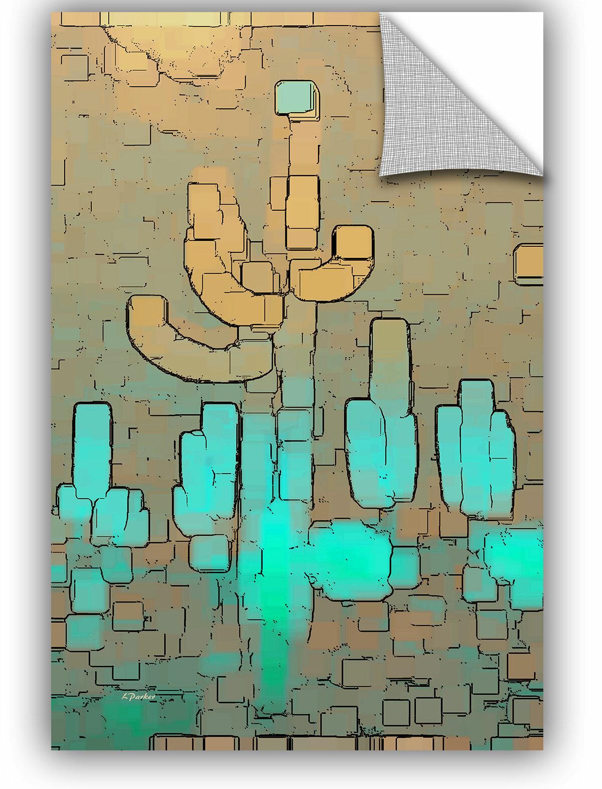 Elana Rays Cyan Swirl Art Appeelz Removable Graphic Wall Art 24 x 24
