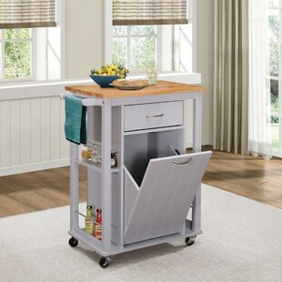 Kenedy Kitchen Cart with Wood Top Winston Porter