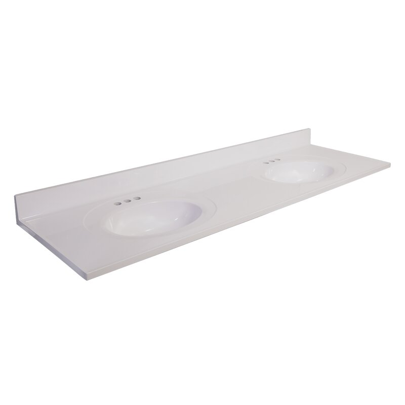 Design House 73 in. W Cultured Marble Vanity Top in White ...