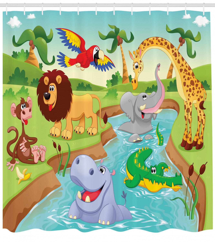 Zoomie Kids Luther Safari African Animals Single Shower Curtain Reviews Wayfair