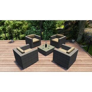 Harmonia Living District 5 Piece Conversation Set with Cushions
