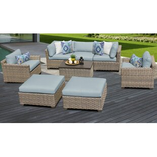 Monterey Outdoor 8 Piece Sectional Seating Group Set with Cushions