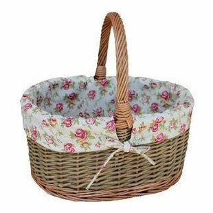 Large Oval Garden Rose Lined Country Shopping Wicker Basket By Lily Manor