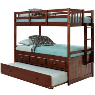 Twin over Twin Bunk Bed with Trundle and Storage