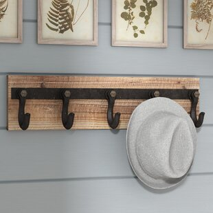 Wood And Iron Wall Mounted Coat Rack