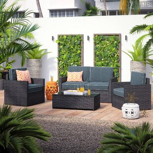 Palm 4 Piece Sofa Set with Cushions