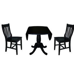 Ollie 3 Piece Drop Leaf Solid Wood Dining Set Canora Grey