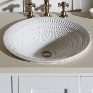 derring carillon wading ceramic circular drop in bathroom sink - Overmount Bathroom Sink