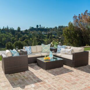 Benbow 7 Piece Rattan Sectional Set with Cushions