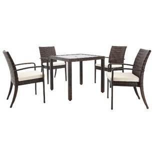 Bay Isle Home Stillwell 5 Piece Dining Set with Cushions and Umbrella