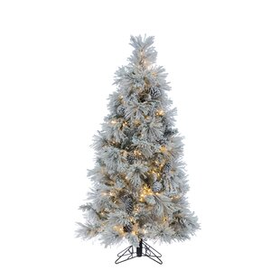 led heavy flocked crystal 5 silver pine artificial christmas tree with 500 clear white lights with stand