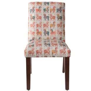 Carvey Lion Block Parsons Chair by World Menagerie