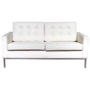 Giddens Leather Loveseat by Orren Ellis