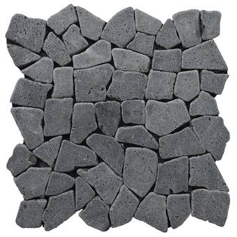 Cnktile Nile Random Sized Natural Stone Mosaic Tile In Green Beige Black Wayfair