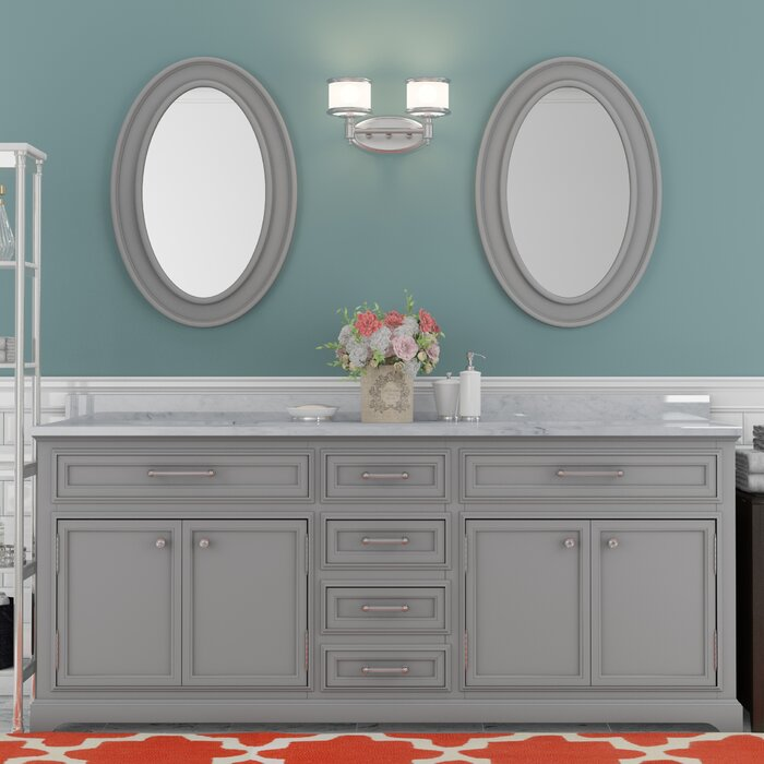 Bergin 72 W Double Sink Bathroom Vanity Set With Mirror