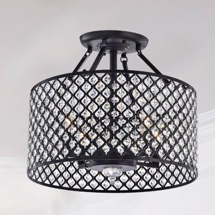 West Hewish Antique Round Crystal 4-Light Semi Flush Mount by Gracie Oaks