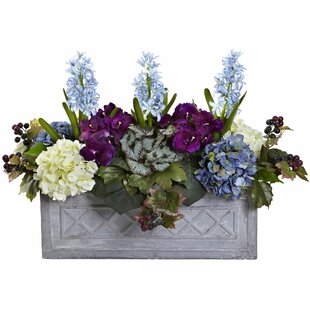 Hyacinth and Hydrangea Floral Arrangement in Stone Planter