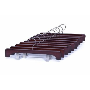 Order Wooden Pants Hangers Heavy Duty with Anti-Rust Hook and Clips (Set of 10) By Rebrilliant