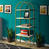 Arched 78 H x  15 W Metal Etagere Bookcase by Everly Quinn