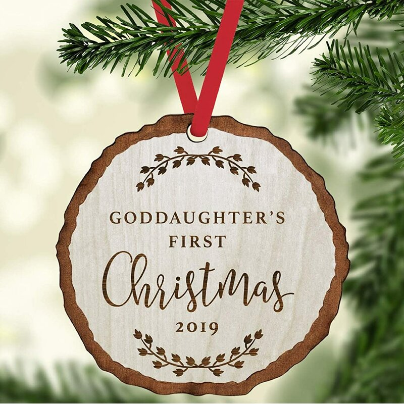 The Holiday Aisle Engraved Wood Slab Keepsake Goddaughter S 1st Christmas Holiday Shaped Ornament Wayfair
