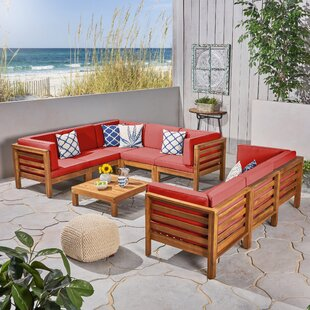 Neil Outdoor 9 Piece Sectional Seating Group with Cushions