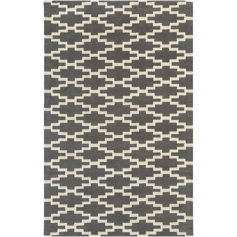 Union Rustic Lococo Handmade Tufted Wool Gray Ivory Rug Wayfair