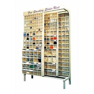 Free Standing Slider Storage System With 5, 6 And 9 Compartment Tip Out Bins