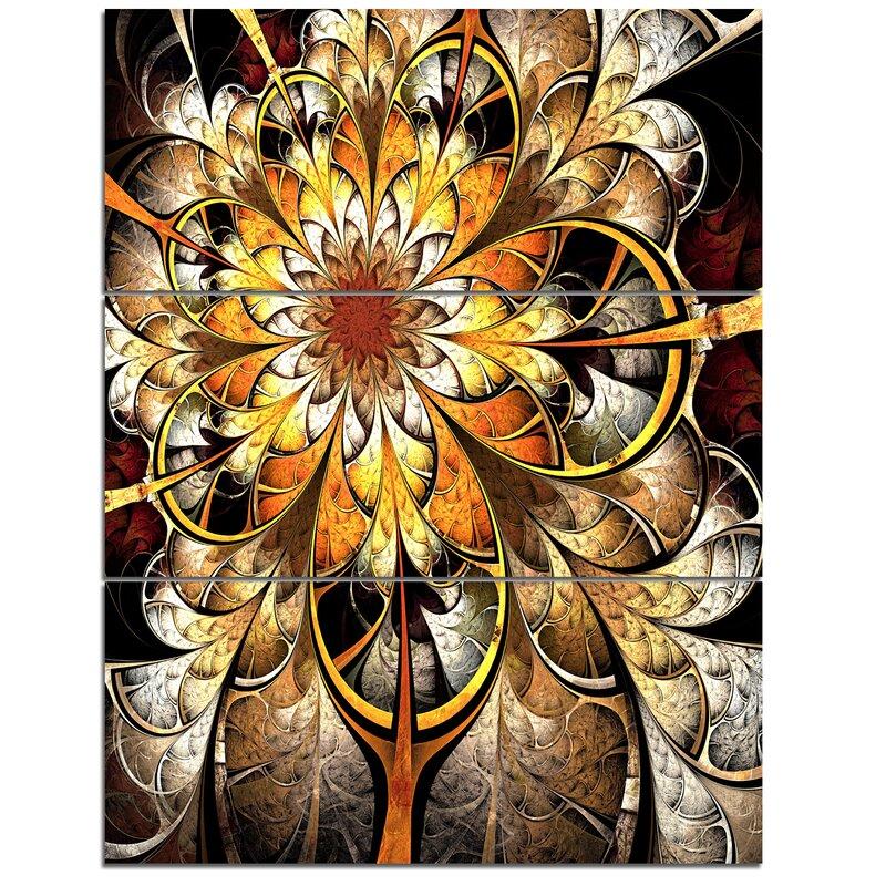 Designart Fractal Flower Dark Yellow 3 Piece Graphic Art On Wrapped Canvas Set Wayfair