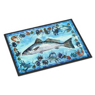 54b98627e005 Fish Speckled Trout Door mat. by Caroline s Treasures