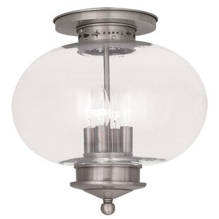 Shielo Glass Shade Semi Flush Mount by Longshore Tides